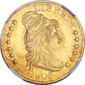 Early Half Eagles, 1806 $5 Round Top 6, 7x6 Stars MS62 NGC. BD-6, R.2....