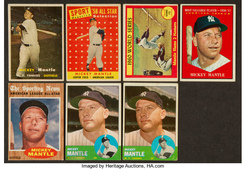 1957 1963 Topps Mickey Mantle Collection 7 Baseball Cards