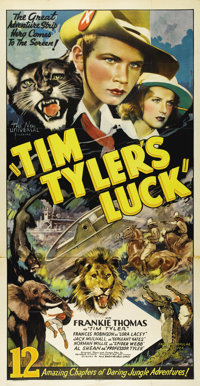 """Tim Tyler's Luck (Universal, 1937). Three Sheet (41"""" X 81""""). Gorgeous full color artwork for this very rare st..."""