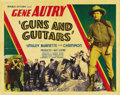 "Movie Posters:Western, Guns and Guitars (Republic, 1936). Half Sheet (22"" X 28""). Gene Autry stands tall once again in a perfect mixture of music a..."
