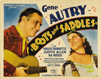 "Boots and Saddles (Republic, 1937). Half Sheet (22"" X 28""). Gene Autry stars in another of his music-filled We..."