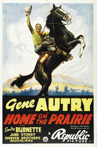 "Home on the Prairie (Republic, 1939). One Sheet (27"" X 41""). Considered by collectors to be one of the best po..."