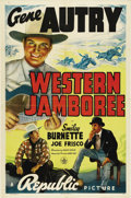 """Movie Posters:Western, Western Jamboree (Republic, 1938). One Sheet (27"""" X 41""""). Wonderful artwork of Gene Autry and Smiley Burnette for this early..."""
