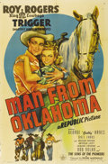 "Movie Posters:Western, Man from Oklahoma (Republic, 1945). One Sheet (27"" X 41"").Co-starring in her eighth film with Roy Rogers, Dale Evans still..."