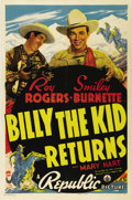 """Movie Posters:Western, Billy the Kid Returns (Republic, 1938). One Sheet (27"""" X 41""""). Roy Rogers rides into town and soon discovers that he looks j..."""
