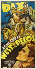 "Movie Posters:Western, West of the Pecos (RKO, 1935). Three Sheet (41"" X 81""). Incrediblestone litho artwork featuring Richard Dix and a stagecoac..."