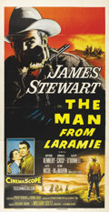 "Movie Posters:Western, The Man From Laramie (Columbia, 1955). Three Sheet (41"" X 81"").Fantastic image of the vengeful James Stewart from this clas..."