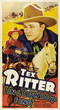 "Movie Posters:Western, Sing, Cowboy, Sing (Grand National, 1937). Three Sheet (41"" X 81""). Tex Ritter and his horse, White Flash, star in this West..."