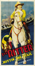 """Movie Posters:Western, Hittin' the Trail (Grand National, 1937). Three Sheet (41"""" X 81""""). Tex Ritter saddles up for this B western musical. This th..."""