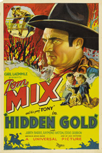 "Hidden Gold (Universal, 1932). One Sheet (27"" X 41""). Tom Mix plays a ranch hand that takes up boxing to earn..."