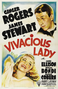 "Vivacious Lady (RKO, 1938). One Sheet (27"" X 41""). Young professor James Stewart goes to the city and falls in..."