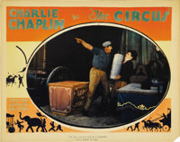 "The Circus (United Artists, 1928). Lobby Card (11"" X 14""). Chaplin carries a stack of dishes in this comedy cl..."