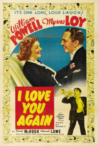 """I Love You Again (MGM, 1940). One Sheet (27"""" X 41"""") Style D. Myrna Loy and William Powell once again star unde..."""