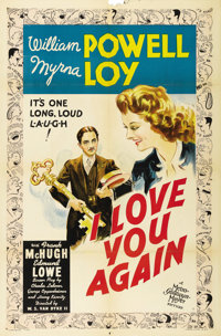 """I Love You Again (MGM, 1940). One Sheet (27"""" X 41"""") Style C. William Powell and Myrna Loy star. This pretty st..."""