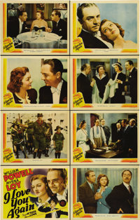 "I Love You Again (MGM, 1940). Lobby Card Set of 8 (11"" X 14""). Just as Myrna Loy is about to divorce William P..."