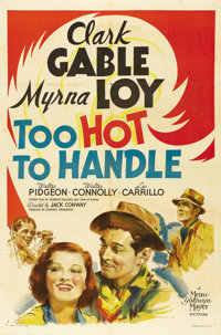 """Too Hot to Handle (MGM, 1938). One Sheet (27"""" X 41"""") Style D. The gorgeous artwork of Clark Gable, Myrna Loy..."""