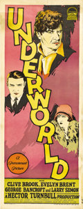 "Movie Posters:Film Noir, Underworld (Paramount, 1927). Insert (14"" X 36""). Director Josefvon Sternberg created this silent era masterpiece that is r..."