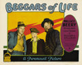"Movie Posters:Adventure, Beggars of Life (Paramount, 1928). Lobby Card (11"" X 14""). WallaceBeery's first speaking role was as a hobo who helps runaw..."