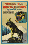 "Movie Posters:Adventure, Where the North Begins (Warner Brothers, 1923). One Sheet (27"" X41"") Style A. This was Rin-Tin-Tin's first film in which he..."