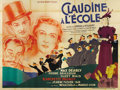 """Movie Posters:Comedy, Claudine à l'école (Claudine at School) (Les Films Cristal, 1937) French 4 Panel (94"""" X 126""""). This large and beautiful post..."""