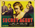 """Movie Posters:Hitchcock, Secret Agent (Gaumont, 1936). Title Lobby Card (11"""" X 14""""). John Gielgud stars as a nebbish novelist who is enlisted by the ..."""