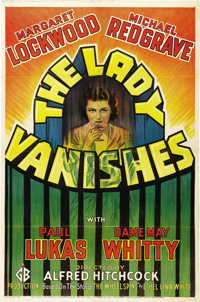 """The Lady Vanishes (Gaumont British, 1938). One Sheet (27"""" X 41""""). Hitchock's next to last film in England was..."""