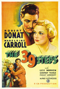 """The 39 Steps (Gaumont, 1935). One Sheet (27"""" X 41""""). Alfred Hitchcock had a """"love affair"""" with espio..."""