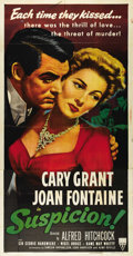 """Movie Posters:Hitchcock, Suspicion (RKO, R-1953). Three Sheet (41"""" X 81""""). Beautiful reissuethree sheet features fantastic color and art of Cary Gra..."""