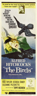 """The Birds (Universal, 1963). Insert (14"""" X 36""""). Tippi Hedren and Rod Taylor star in Alfred Hitchcock's classi..."""