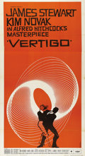 "Movie Posters:Hitchcock, Vertigo (Paramount, 1958). Three Sheet (41"" X 81""). Starring JimmyStewart and Kim Novak, this film is often heralded as one..."