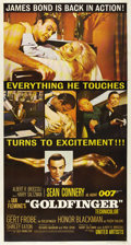 "Movie Posters:Action, Goldfinger (United Artists, 1964). Three Sheet (41"" X 81""). This three sheet features several great shots from the film, wit..."