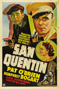 "Movie Posters:Drama, San Quentin (Warner Brothers, 1937). One Sheet (27"" X 41"").Outstanding graphics highlight this rare ""Other Company"" stone l..."