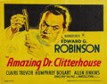 "Movie Posters:Crime, The Amazing Dr. Clitterhouse (Warner Brothers, 1938). Title LobbyCard (11"" X 14""). This is the Title Card for one of Edward..."
