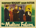 "Movie Posters:Crime, The Maltese Falcon (Warner Brothers, 1941). Lobby Card (11"" X 14"").Humphrey Bogart made the role of Sam Spade his own with ..."