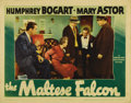 "Movie Posters:Crime, The Maltese Falcon (Warner Brothers, 1941). Lobby Card (11"" X 14"").John Huston makes his directorial debut in what would be..."