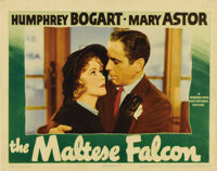 """The Maltese Falcon (Warner Brothers, 1941). Lobby Card (11"""" X 14""""). Humphrey Bogart, stars in one of his most..."""