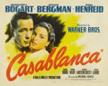 "Movie Posters:Film Noir, Casablanca (Warner Brothers, 1942). Half Sheet (22"" X 28"") Style A. This classic half sheet portrait style of Humphrey Bogar..."