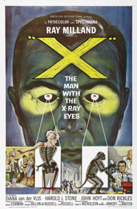 "X: The Man with the X-Ray Eyes (AIP, 1963). One Sheet (27"" X 41""). Ray Milland stars as a scientist whose expe..."