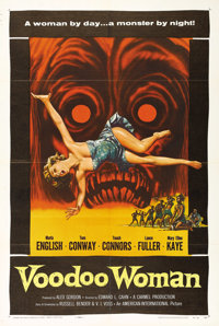"""Voodoo Woman (AIP, 1957). One Sheet (27"""" X 41""""). Fantastic artwork of the beautiful Marla English and the chil..."""