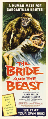 "The Bride and the Beast (Allied Artists, 1958). Insert (14"" X 36""). This film's only claim to fame may be that..."