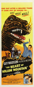 "Movie Posters:Science Fiction, The Beast of Hollow Mountain (United Artists, 1956). Insert (14"" X36""). Thirteen years before ""The Valley of Gwangi,"" speci..."