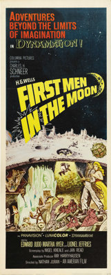 "First Men in the Moon (Columbia, 1964). Insert (14"" X 36""). Based on an H.G. Wells story, this film is from th..."
