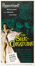 "Movie Posters:Science Fiction, The She-Creature (American International, 1956). Three Sheet (41"" X81""). Chester Morris stars as the evil hypnotist Dr. Lom..."
