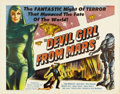 "Movie Posters:Science Fiction, Devil Girl From Mars (Spartan, 1955). Half Sheet (22"" X 28"").Brilliant color and a classic cult science fiction image makes..."