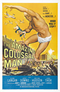 "The Amazing Colossal Man (AIP, 1957). One Sheet (27"" X 41""). The incredibly awesome sci-fi artwork of Glenn La..."