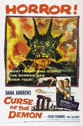 "Movie Posters:Horror, Curse of the Demon (Columbia, 1957). One Sheet (27"" X 41""). DanaAndrews is a cynical psychologist, who doubts that a series..."