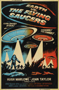 "Movie Posters:Science Fiction, Earth vs. the Flying Saucers (Columbia, 1956). Poster (40"" X 60"").One of the better posters from this classic Harryhausen s..."