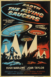 "Earth vs. the Flying Saucers (Columbia, 1956). Poster (40"" X 60""). One of the better posters from this classic..."