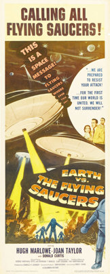 """Earth vs. the Flying Saucers (Columbia, 1956). Insert (14"""" X 36""""). A great entry in the 1950s science-fiction..."""