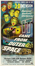 "Movie Posters:Science Fiction, It Came From Outer Space (Universal, 1953). Three Sheet (41"" X81""). Dynamic image for a rare format poster from this scienc..."